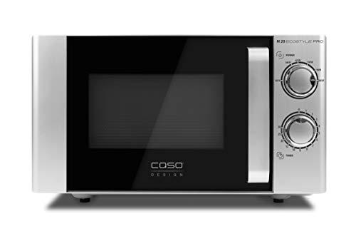 Caso Microondas M 20 Ecostyle Pro, fácil de usar, 20 L, 800 W de potencia, plato giratorio 3311, plateado, negro