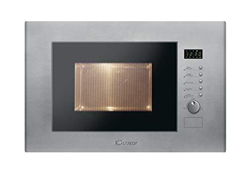 Candy MIC20GDFX Microondas integrable con Grill, 10 programas, Display Digital, Plato Giratorio 24,5 cm, Potencia 800 W-1000 W, 1250 W, 20 litros, Acero, INOX