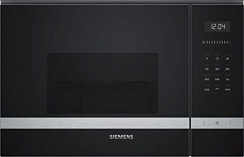 Siemens BE555LMS0 iQ500 - Microondas integrable, 38 cm, 25 L, 900 W, Grill 1200 W, Color negro y acero inoxidable