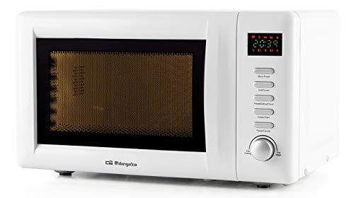 Orbegozo MIG2036 Microondas con grill, 20 litros de capacidad, 8 menús de cocción automática, 5 niveles de potencia, display digital, temporizador 60 minutos, 800 W, Acero, Blanco