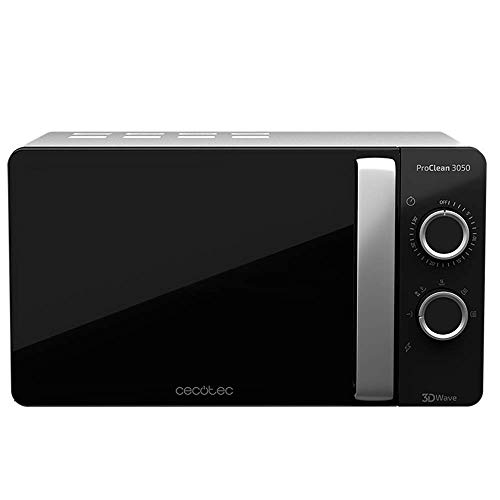 Cecotec ProClean 3050 - Microondas, Capacidad de 20l, Revestimiento Ready2Clean, 700 W de Potencia, 6 Niveles Funcionamiento, Temporizador 30 min, Modo Descongelar, Color Negro y Plata