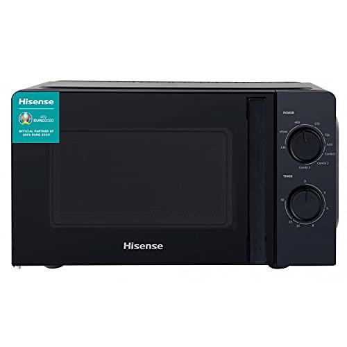 Hisense H20MOBS1HG - Microondas con Grill, Capacidad de 20 L, 700 W de Potencia,900 W Grill, 5 Niveles, Temporizador 30 Min, Modo Descongelar, Tirador, Acabado Negro