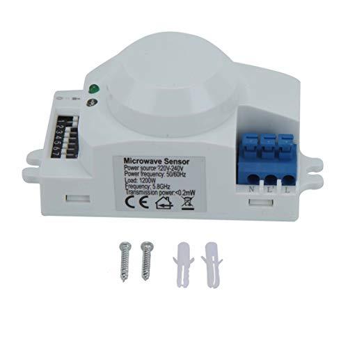 Interruptor de sensor de microondas de 360 grados, detector de movimiento inteligente, sensor de radar, interruptor de luz basado en para garajes, almacenes, pasillos, escaleras(220 V-240 V SK-700)