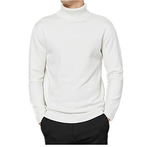 N\P Cuello alto Suéter de los Hombres Otoño Invierno Grueso Caliente Slim Fit Color Sólido Jersey Blanco Suéter Masculino Rojo Azul
