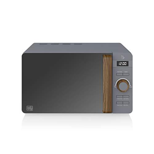 Swan Nordic Microondas digital 20L, 6 niveles funcionamiento, 800W potencia, temporizador 30 min, fácil limpieza, modo descongelar, diseño moderno, tirador efecto madera, gris mate