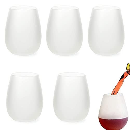 5 Pcs Copas De Vino Silicona,Copas De Vino Irrompibles De Silicona Stemless Wine Glasses Copas De Vino De Silicona Vasos Plegables De Silicona De Calidad Alimentaria Para Exteriores, Viajes, Camping