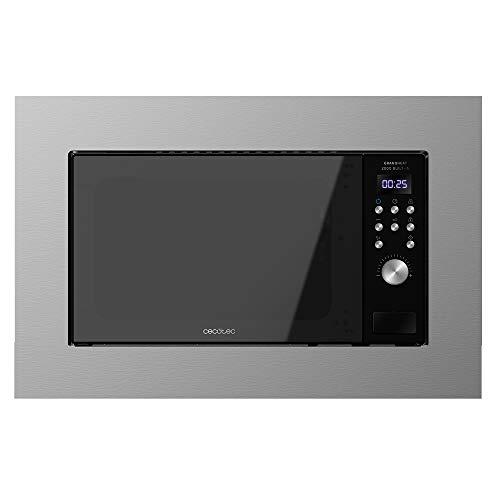 Cecotec Microondas encastrable Digital GrandHeat 2000 Built-In Steel Black. 700W, Integrable, 20l, Grill, 9 funciones preconfiguradas, Quick Start, Diseño Elegante