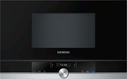 Siemens BF634LGS1 iQ700 - Microondas integrable / encastre sin marco sin grill, 21 L, 900 W, color negro con acero inoxidable, negro