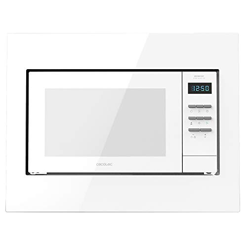 Cecotec Microondas encastrable digital Grandheat 2300 Built-In White. 23 Litros, 800 W, Integrable, Grill, 5 Niveles, 8 Funciones preconfiguradas, Temporizador, Diseño en Blanco