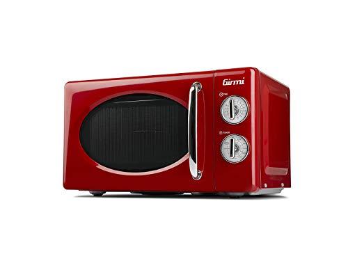 Girmi FM2102 - Horno de microondas con diseño vintage, 20 litros, 700 + 800 W, rojo