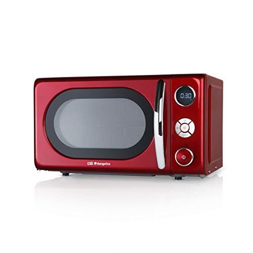 Orbegozo MIG2042 Microondas con Grill, 20 litros de Capacidad, 10 Niveles de Potencia, 8 menús automáticos preconfigurados, Sistema de cocción multifunción, Display Digital LED, 700 W, Acero, Rojo