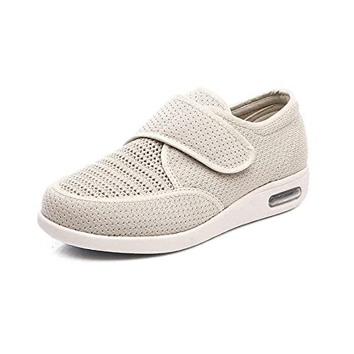 WTFYSYN Zapatos para pie diabético con Artritis Edema,Zapatos Transpirables de Mediana Edad y Ancianos, Zapatos diabéticos cómodos y Ligeros-Beige_35.5,Zapatillas diabéticas Vendaje Zapatos