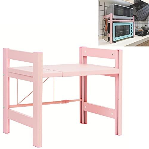 Eckes Estantería para microondas, para horno, microondas, con 3 ganchos, organizador de cocina, color rosa