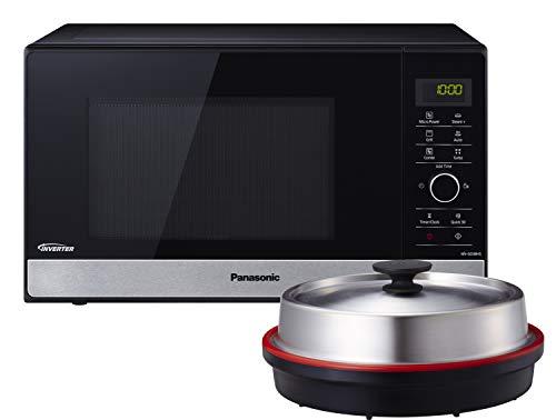 Panasonic NN-GD38HSGTG - Microondas con parrilla (1000 W, vaporera, vapor, vapor, microondas combinado, sartén para pizza, 23 L), color negro