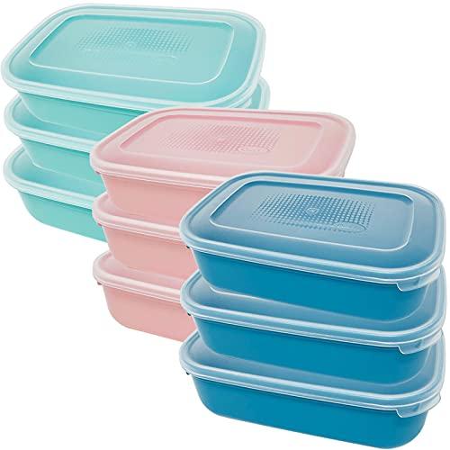Codil Juegos Tupper de Plásticos para Alimentos,Tapers Rectangular Reutilizables para Comida Sin BPA,Recipientes con Tapa,Apto para Microondas Lavavajillas y Congelador(Rosa Verde y Azul, 9 x 1.6L)