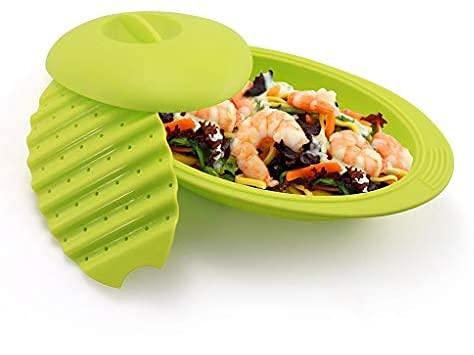 Estuche de vapor de silicona para microondas u horno de 28 cm   Papillote de cocina verde   Franquihogar