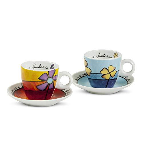 Egan PAF02/1S - Juego de tazas de café, porcelana, rojo/celeste, 4 unidades