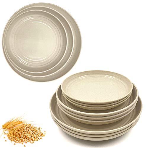 Paquete de 12 platos de paja de trigo beige, irrompibles, ligeros, platos de cena aptos para microondas, perfecto para ensalada, pasta, bistec, frutas (6.8,7.8,8.8 pulgadas) (Beige)