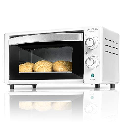 Cecotec Horno Sobremesa Bake&Toast 490. 1000 W, Capacidad de 10 litros, Temperatura hasta 230ºC, Temporizador hasta 60 Minutos, Perfecto para Panini y Bollería, Incluye Bandeja Recogemigas