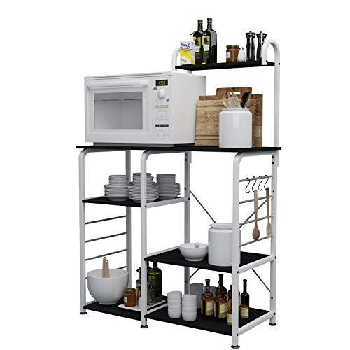 DlandHome Soporte para carro de microondas 35.4', Almacenamiento de utilidad de cocina 3 niveles + 4 niveles para Baker's Rack & Especiero Organizador Plataforma de la estación de trabajo, Black