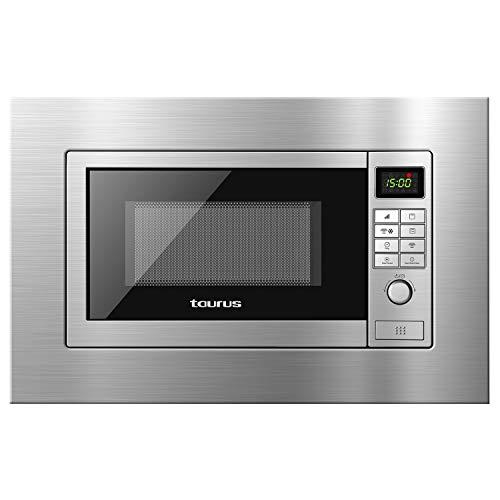 Taurus 970928000 - Microondas digital Elbrus, integrable y de encastre con grill 700 W / 900 W, 9 modos, 9 menús, programable, Quick Start, descongelación por peso, 39x59.5x31.2 cm