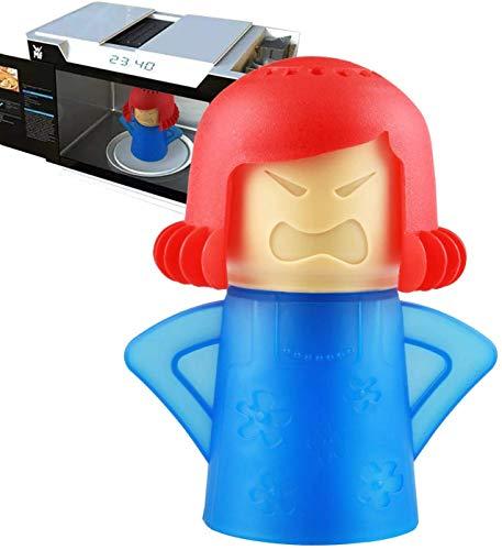 Abnaok Limpiador de microondas, 1 herramienta de limpieza de vapor de horno de microondas Angry Mama, fácil de limpiar en minutos, desinfecta con vinagre y agua (azul)