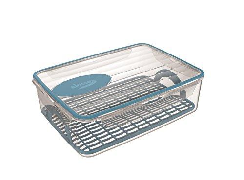 BIESSE k 145/44 Contenedor hermético 4 Cierres de 4,5 litros para Cocina microondas Apto para congelador y Rejilla escurridora, Plastic, Azul, 30.0x22.0x9.5 cm
