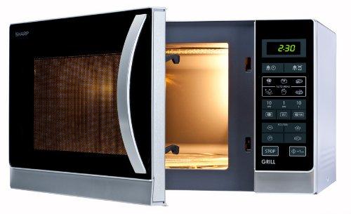 Sharp R742INW Microondas Grill 25L, Control Tactíl, 1000W, 900 W, 25 litros, Fer, Plateado