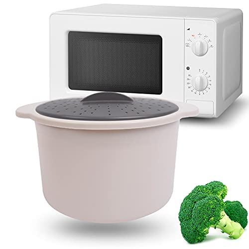 MovilCom® - Olla de vapor para arroz, cous cous, quinoa, pasta   Rice cooker   Olla arrocera vaporera microondas   Color beige