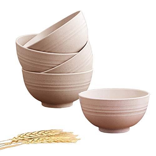 5 Piezas Cuenco Cereales, 24 oz irrompibles Bol Cereales Bowls Cocina Ensaladeras Vajilla Tazones de Consomé, Aptos para lavavajillas y microondas para niños, arroz, tazones para Sopa Tazones (Beige)