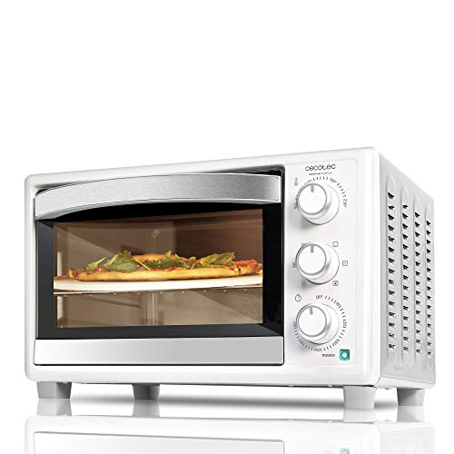 Cecotec Horno sobremesa con piedra para pizza Bake&Toast 610 4Pizza. 1500 W, Horno eléctrico multifunción de sobremesa, Cocina por convección, Luz interior, Puerta con doble cristal