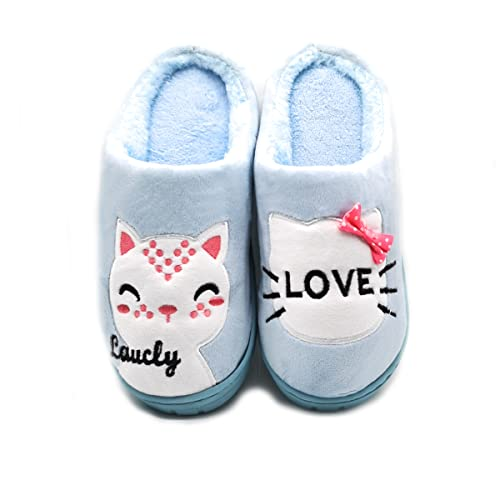 Zapatillas De Estar por Casa Mujer Peluche Invierno Pantuflas Antideslizantes Calido Termico Comodo Algodón Celeste 40/41