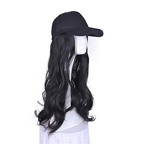 Gorro de béisbol con forma de onda natural esponjosa para mujer, gorra de béisbol para hombre, divertido sombrero de seda mate, color negro, tamaño: 55 cm