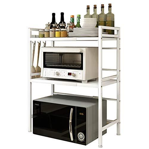 Vinteky Soporte Microondas, Estante Microondas Ajustable de 3 Niveles, Estante para Horno de sobre Encimera de Cocina, Armario de Cocina, Blanco