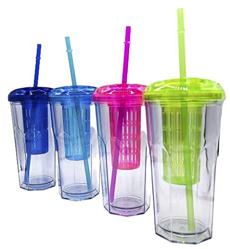 Vaso de Batidos infusiones de plástico con Tapa y Pajitas Reutilizable Bebidas heladas y frías Doble Pared Libre de BPA Envase Transparente de Bebidas de 591 ml Color (Celeste)
