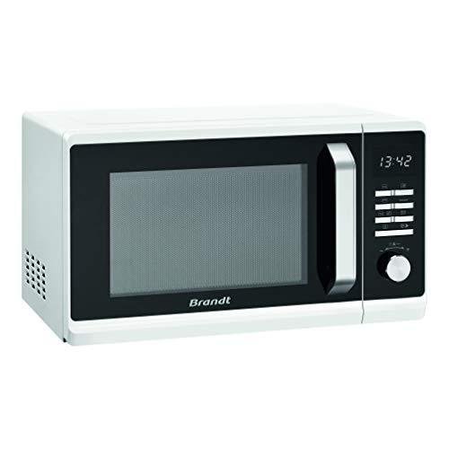 Brandt SE2302W - Microondas automático (acero inoxidable, modo descongelado, 23 L, 800 W), color blanco y negro