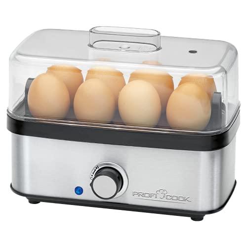 Profi Cook PC-EK 1139 - Hervidor de Huevos para hasta 8 Huevos, función de Tortillas, escalfador, señal de Final acústica, Acero Inoxidable