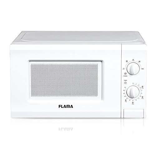 Flama Microondas Blanco 1817FL, 700W, Capacidad de 20L, 5 Programas Automáticos, Función de Descongelación, Control Manual, Iluminación interior