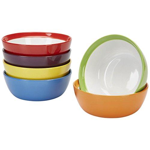 Cuencos desayuno - Cuencos para sopa - Cuenco cereales - Cuencos ceramica colores - Bol ramen, bol gazpacho o bol de cereales - Set vajilla 6 personas - 611m