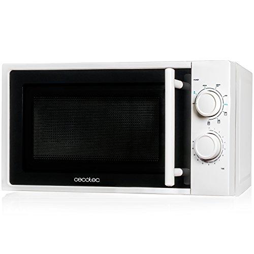 Cecotec Microondas Grill White. 700 W de Potencia, Capacidad de 20l, Grill de 900W, 9 Niveles Funcionamiento, Temporizador 30 min, Modo Descongelar, Acabado Blanco
