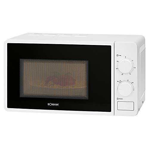 Bomann Microondas MW 6014 CB, 700 W, 20 L, 6 niveles de potencia, temporizador de 30 minutos con señal final, iluminación para el horno, color blanco