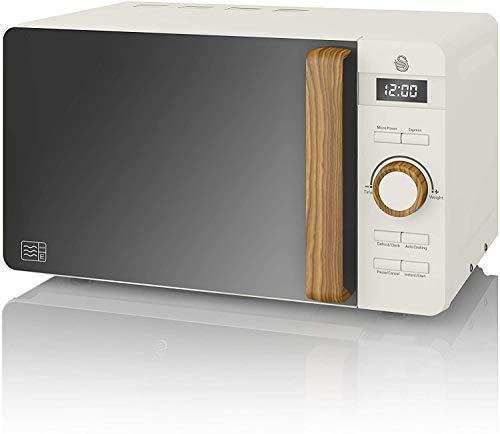 Swan Nordic Microondas digital 20L, 6 niveles funcionamiento, 800W potencia, temporizador 30 min, fácil limpieza, modo descongelar, diseño moderno, tirador efecto madera, blanco mate