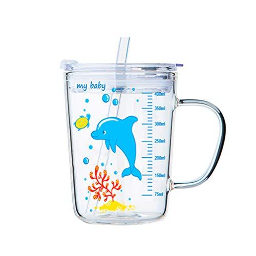 UPKOCH - Vaso de cristal con pajita y tapa para microondas (gran capacidad, con báscula para bebés)