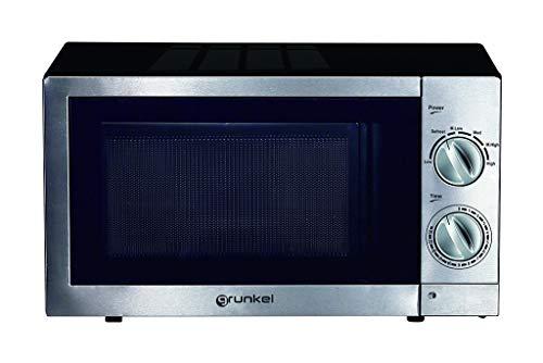 Grunkel - Microondas de 20 litros de capacidad y 6 niveles de potencia. Función descongelación y temporizador hasta 30 minutos - 700W - Acero inoxidable (Grill)