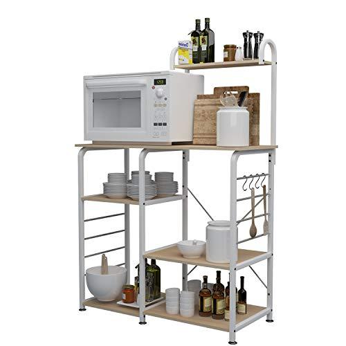 DlandHome Soporte para carro de microondas 35.4', Almacenamiento de utilidad de cocina 3 niveles + 4 niveles para Baker's Rack & Especiero Organizador Plataforma de la estación de trabajo, Maple