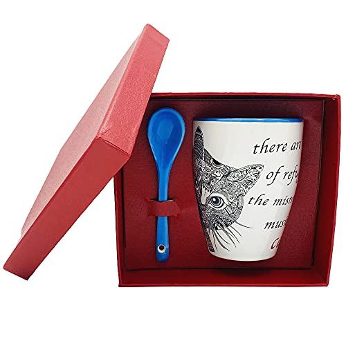 NAREG - Taza de cerámica con cuchara en caja de regalo para gato, taza con gato, idea regalo, ideal para desayuno, té, café, apta para microondas y lavavajillas, taza de café Cat. (celeste)