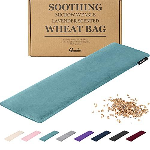 Saco térmico de semillas - Bolsa de Semillas Grande para Microondas - Bolsa de Semillas y Lavanda con Funda de Vellón Suave para el Alivio del Dolor - Bolsas de Semillas Reutilizables (Verde/Azul)