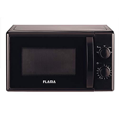 Flama Microondas Negro 1834FL, 700W, Capacidad de 20L, 5 Programas Automáticos, Sencillo y Compacto, Control Manual, Función de Descongelación