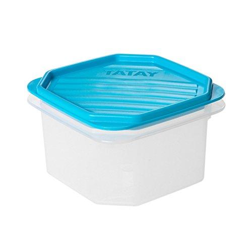 Tatay Fiambrera de Alimentos, Hermética, 0,6L de Capacidad, Tapa Flexible a Presión, Libre de BPA, Apto Microondas y Lavavajillas, Color Azul, Medidas: 12 x 12 x 7,5 cm