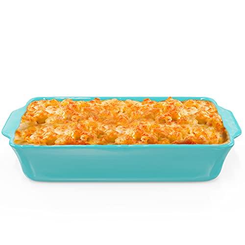 Plato de cerámica para hornear - Plato rectangular para los entusiastas de la cocina y la repostería - Apto para horno, congelador y microondas - Plato para servir pasteles y lasaña - Turquesa